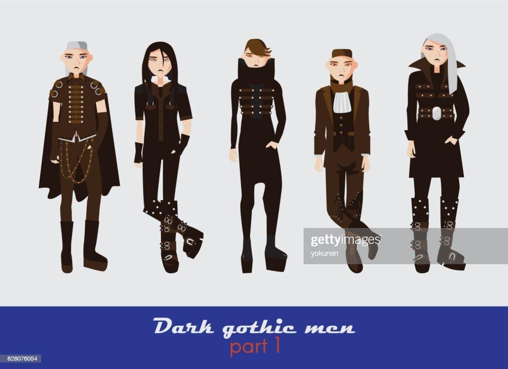 Vector set with dark gothic young men.