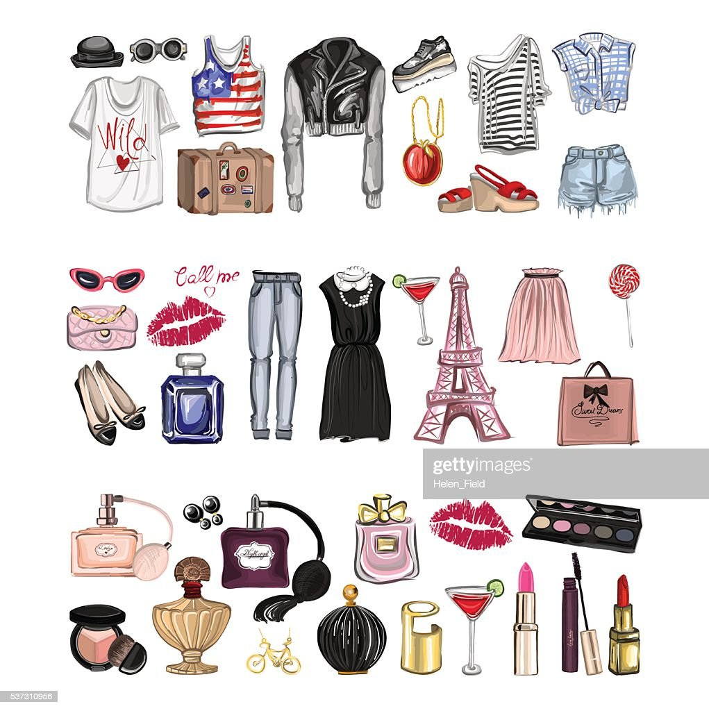 Vector set with fashion and perfume elements Digital watercolor