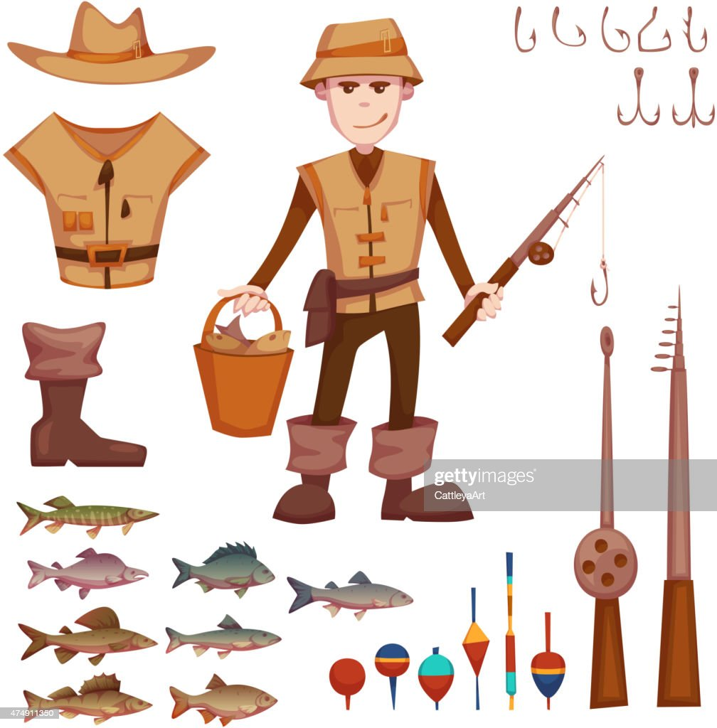 Vector set with fisherman and fishing some objects