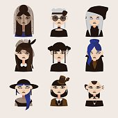 Vector set with gothic girls characters, drawn with various hairstyle