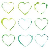 Vector set with green watercolor hearts.