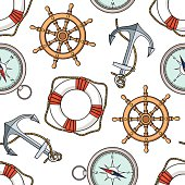 Vector pattern with isolated anchor, lifebuoy, ship's wheel, compass.
