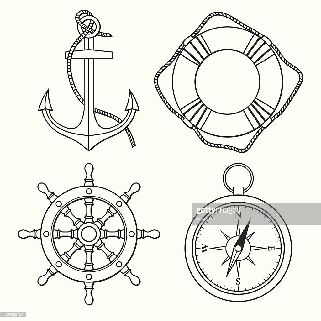 Vector set with isolated anchor, lifebuoy, ship's wheel, compass