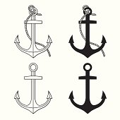 Vector set with isolated anchors. Black and white