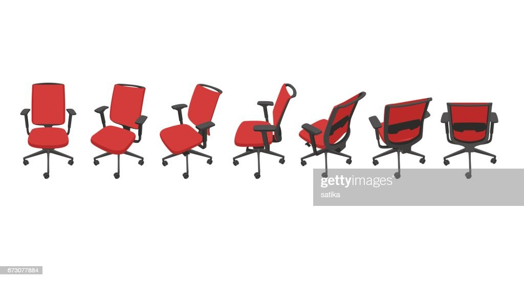 Vector set with red isolated office chairs in different views.