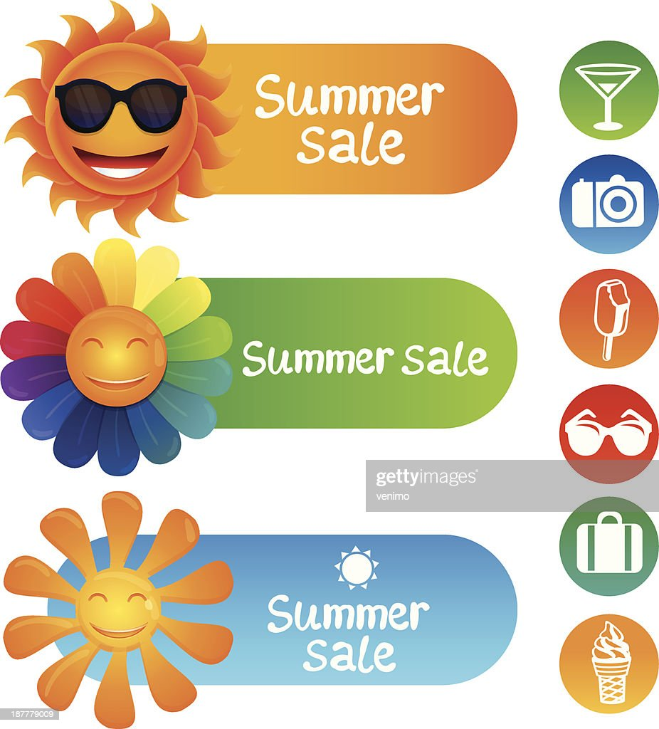 Vector set with summer design elements
