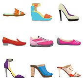 vector set with women shoes