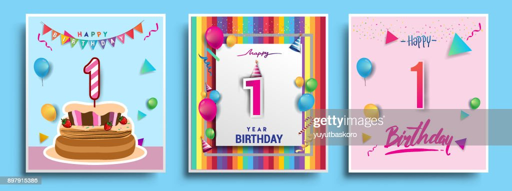Vector Sets of Birthday invitation, greeting card Design, with confetti and balloons, birthday cake, Colorful Vector template Elements for your Birthday Celebration Party.