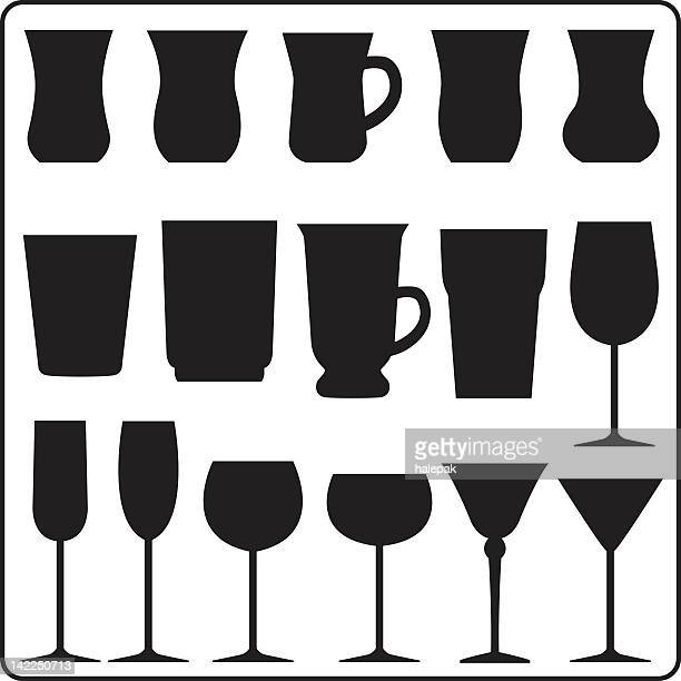 Vector several cups silhouette