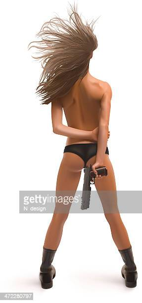 Vektor Sexy Mädchen mit Waffe