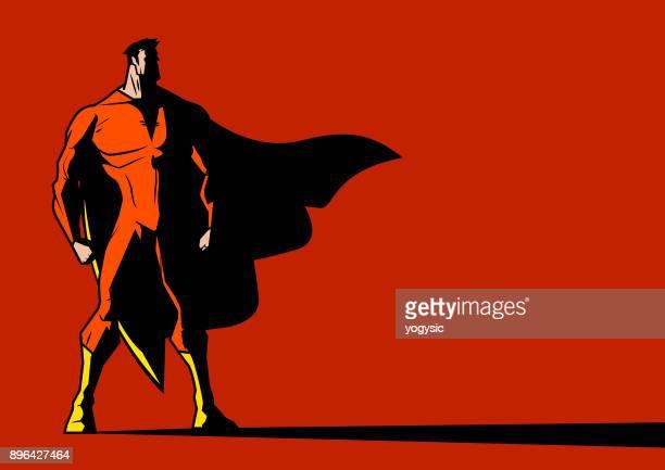 vektor schattenhafte superhelden auf der linken seite suche - männliche person stock-grafiken, -clipart, -cartoons und -symbole