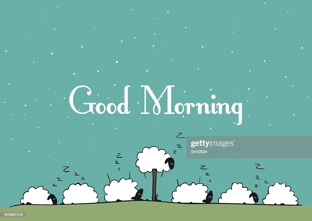 Vector sheep - Good Morning