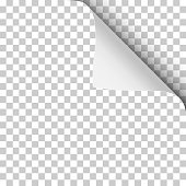 Vector sheet of transparent paper with upper right curled up corner and soft shadow.