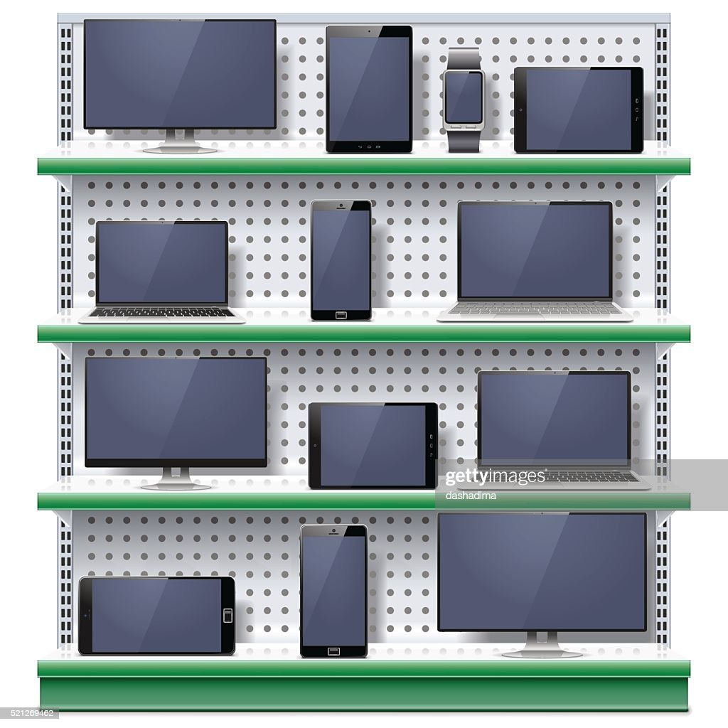 Vector Shelves with Modern Electronic Devices