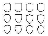Vector Shield icon. Heraldic shields, security black labels.