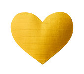 Vector shining gold heart for you amazing design project. Watercolor texture brush strokes isolated on white. Abstract hand painted golden background