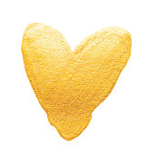Vector shining gold heart. Watercolor texture brush strokes isolated on white. Abstract hand painted golden background