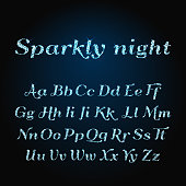 Vector shining luxury beautiful calligraphic alphabet font with glittering sparkles.