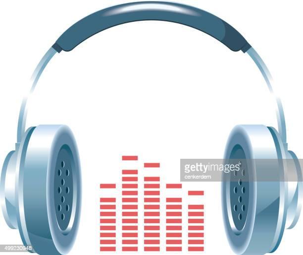 vector shiny headphones - soundtrack stock illustrations, clip art, cartoons, & icons