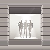 Vector Shop Boutique Store Front with Big Window and Mannequins