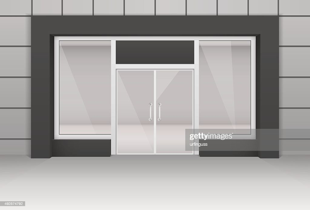 Vector Shop Boutique Store Front with Big Window