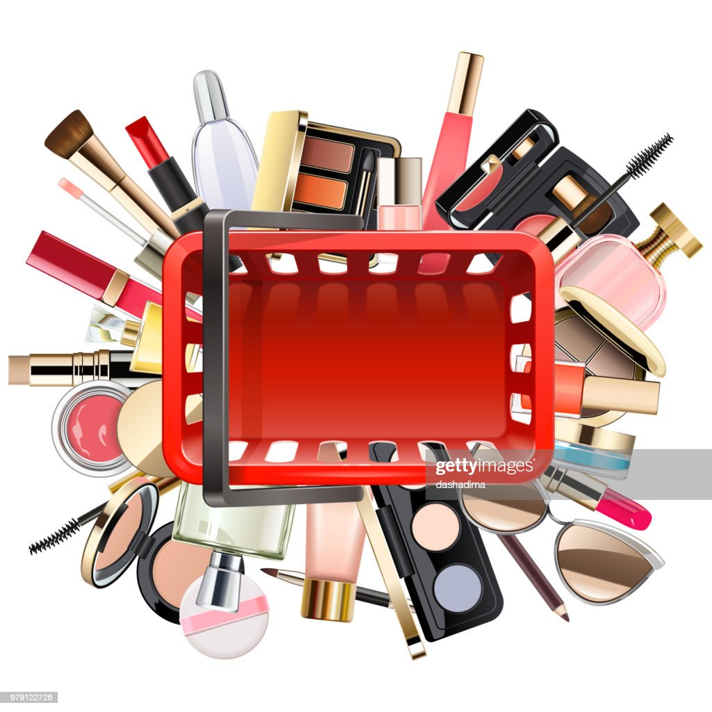 Vector Shopping Concept with Cosmetics