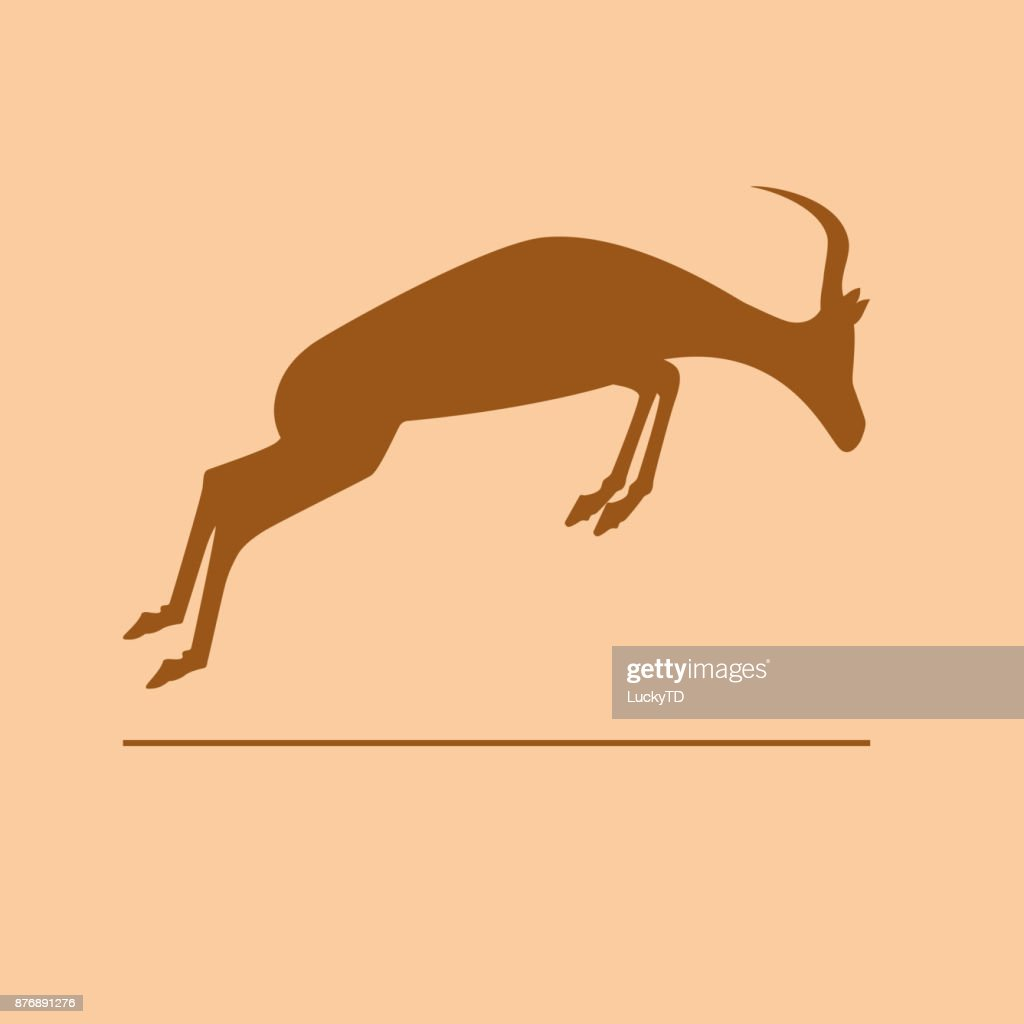 Vector sign abstract African gazelle jumping
