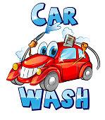 Vector sign. Car wash character cartoon. vector illustration