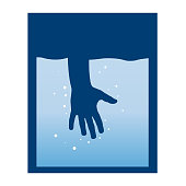 Vector sign hand immersed in water