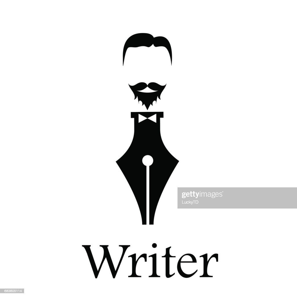 Vector sign writer. Fountain pen, head of a bearded man