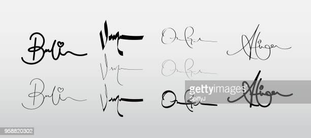 ilustraciones, imágenes clip art, dibujos animados e iconos de stock de firmas de vector - firma