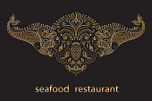 Vector signboard of sea food restaurant. Fantasy mermaid, octopus, fish, sea animals golden contour thin line drawing with ornaments on a black background. Embroidery border, emblem, insignia