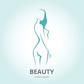Vector silhouette a woman in profile logo for beauty salon