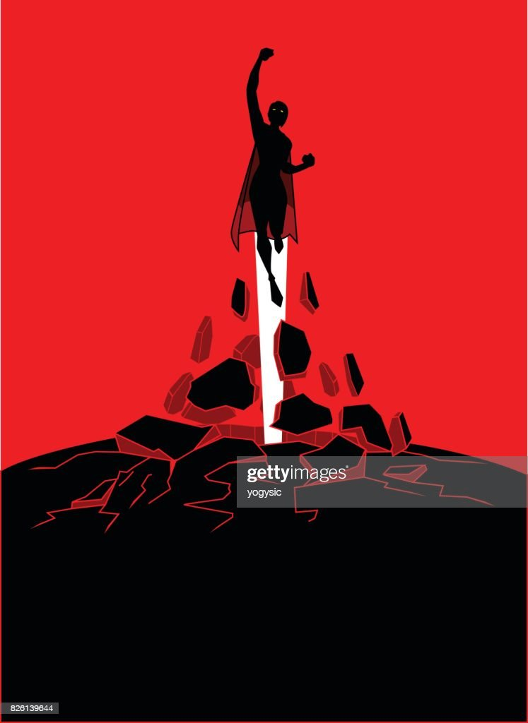 Vector Silhouette Female Superhero Flying Upward Free out of a Shpere