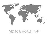 Vector silhouette map of world