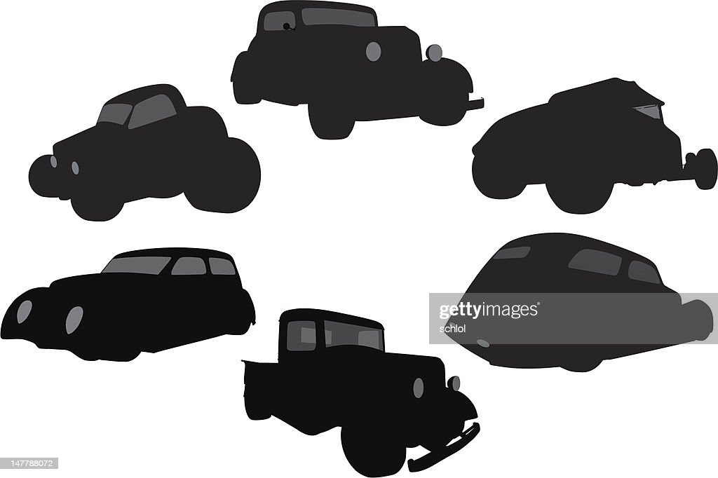 Vector Silhouette of 1930's Vehicles