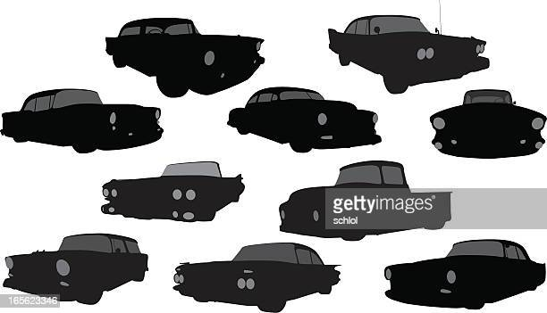vector silhouette of 1950's vehicles - low rider stock illustrations