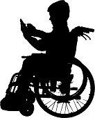 Vector silhouette of a boy.