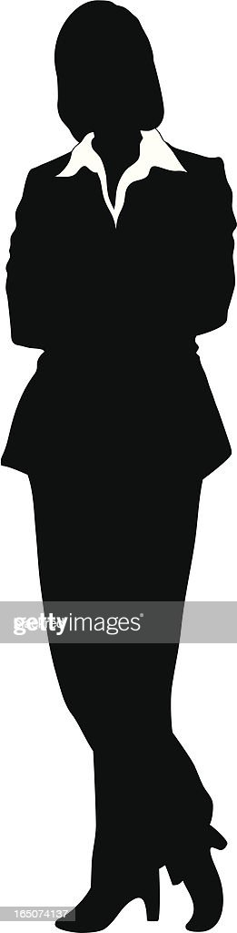 Vector - Silhouette of a Businesswoman Standing Arms Corssed
