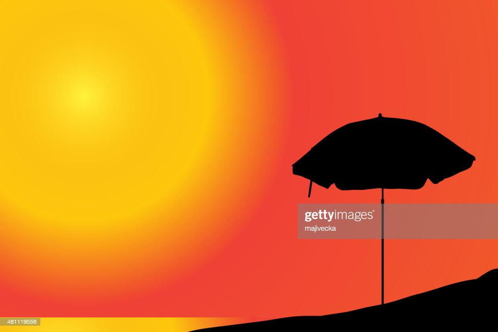 Vector silhouette of a parasol.