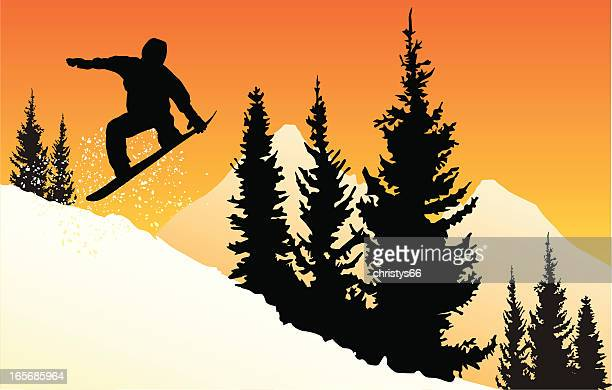 vector silhouette of a snowboarder jumping at sunset in mountains. - ski slope stock illustrations, clip art, cartoons, & icons