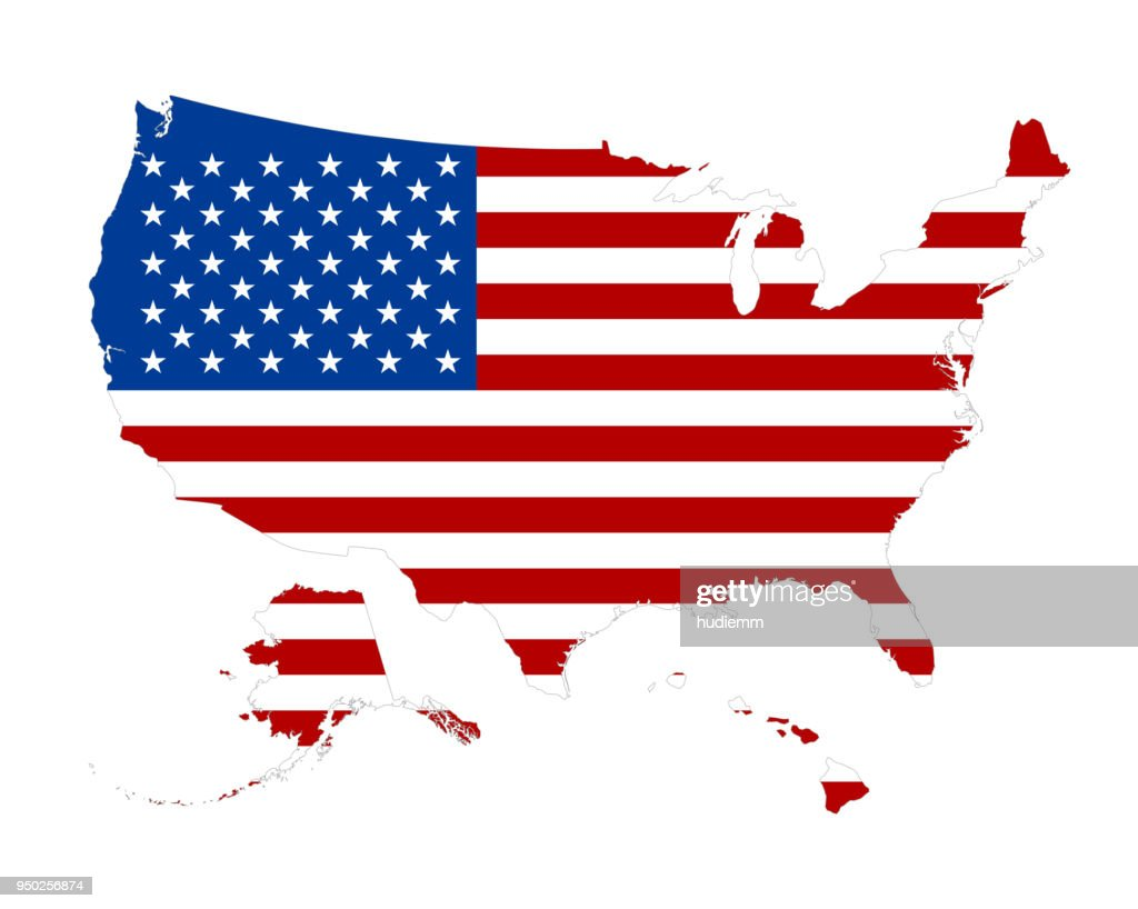vector silhouette of a us flag on the map vector art getty images rh gettyimages com vector us flag download free vector usa flag
