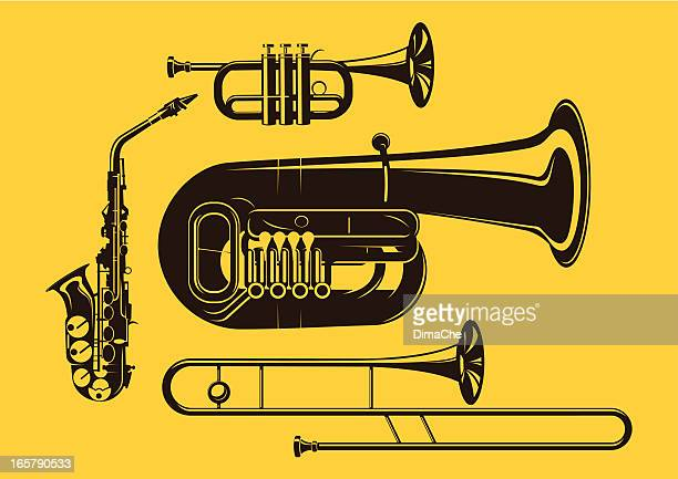 vector silhouette of brass instruments in yellow background - saxaphone stock illustrations, clip art, cartoons, & icons