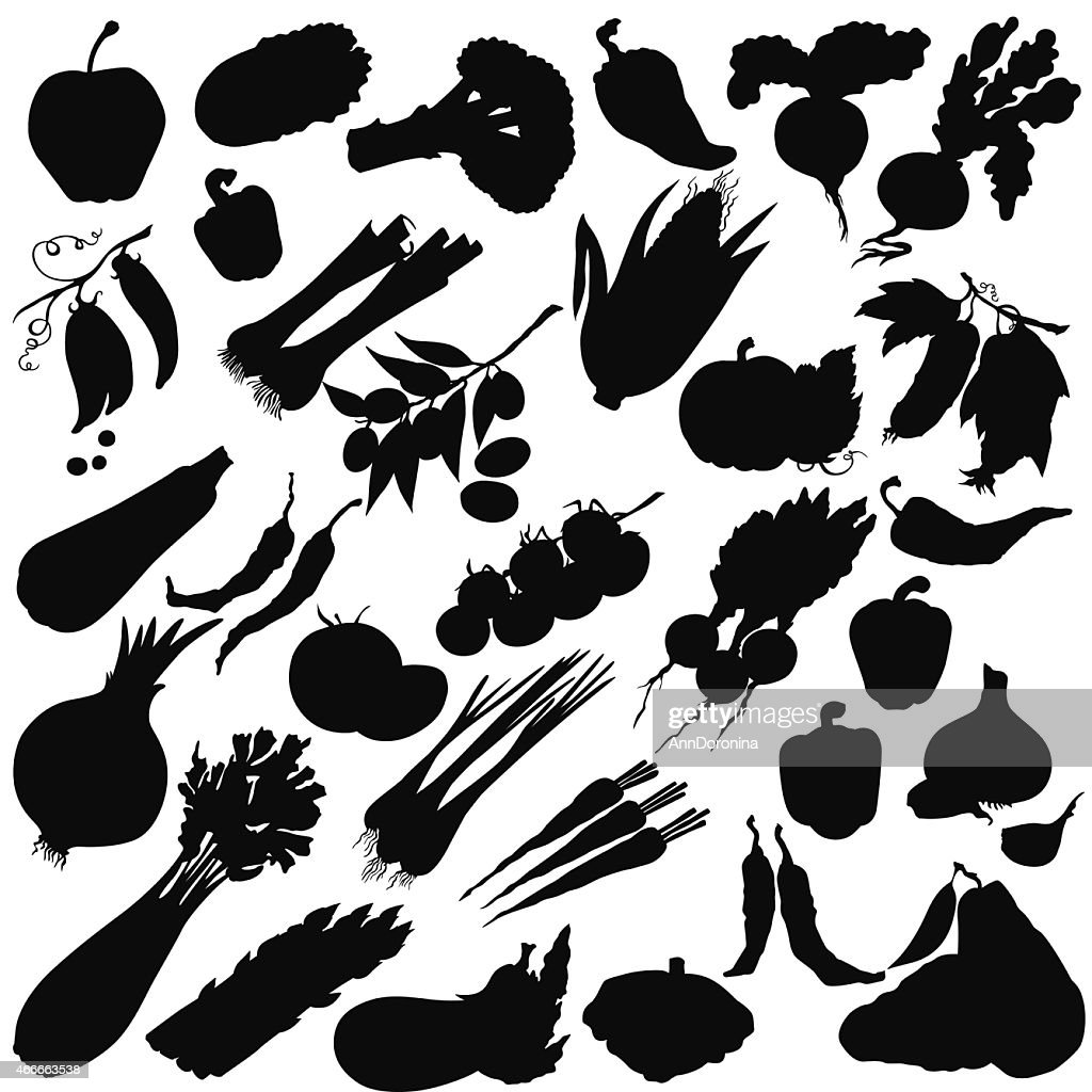 Vector silhouette of different vegetables