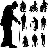 Vector silhouette of disabled people.
