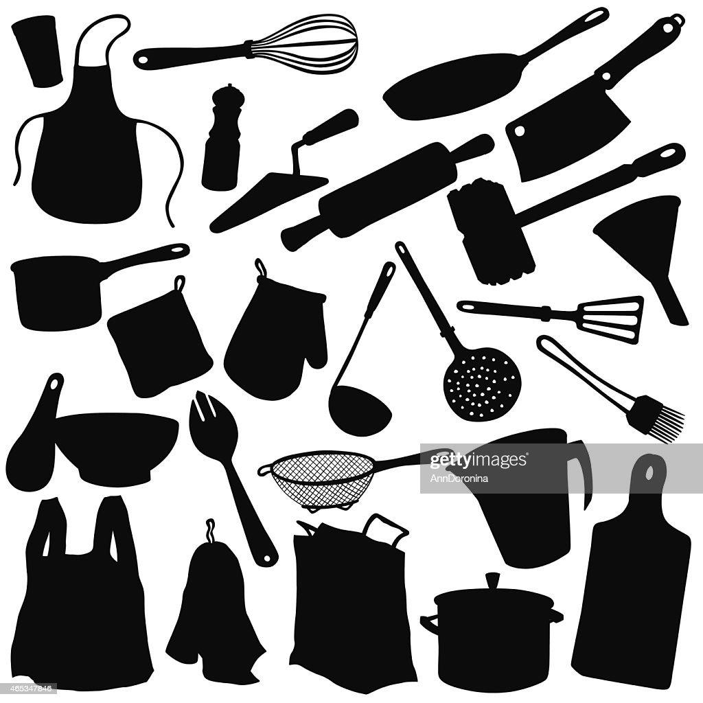 Vector silhouette of kitchen utensils