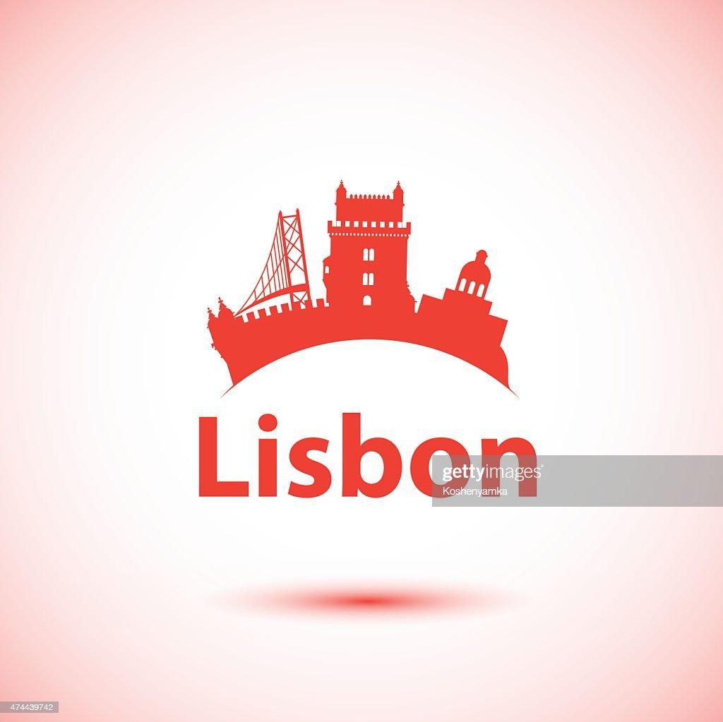 Vector silhouette of Lisbon, Portugal. City skyline.