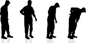Vector silhouette  of old man.