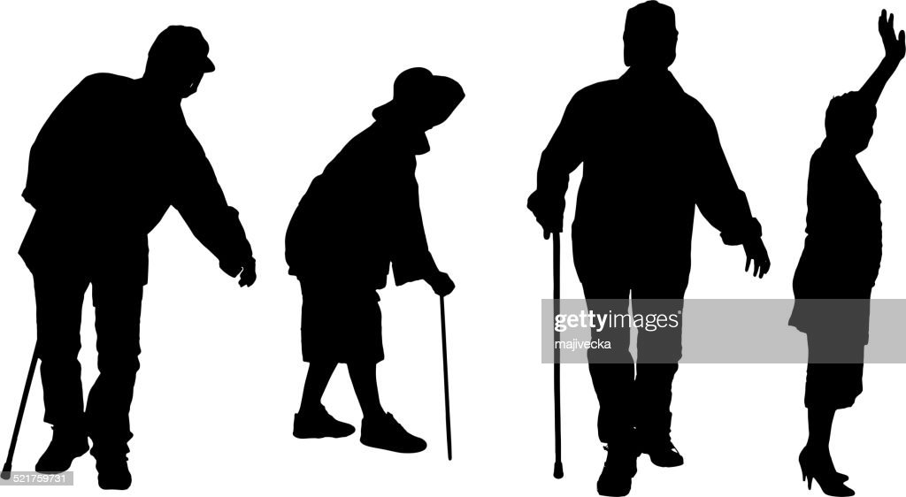 Vector silhouette of old people.