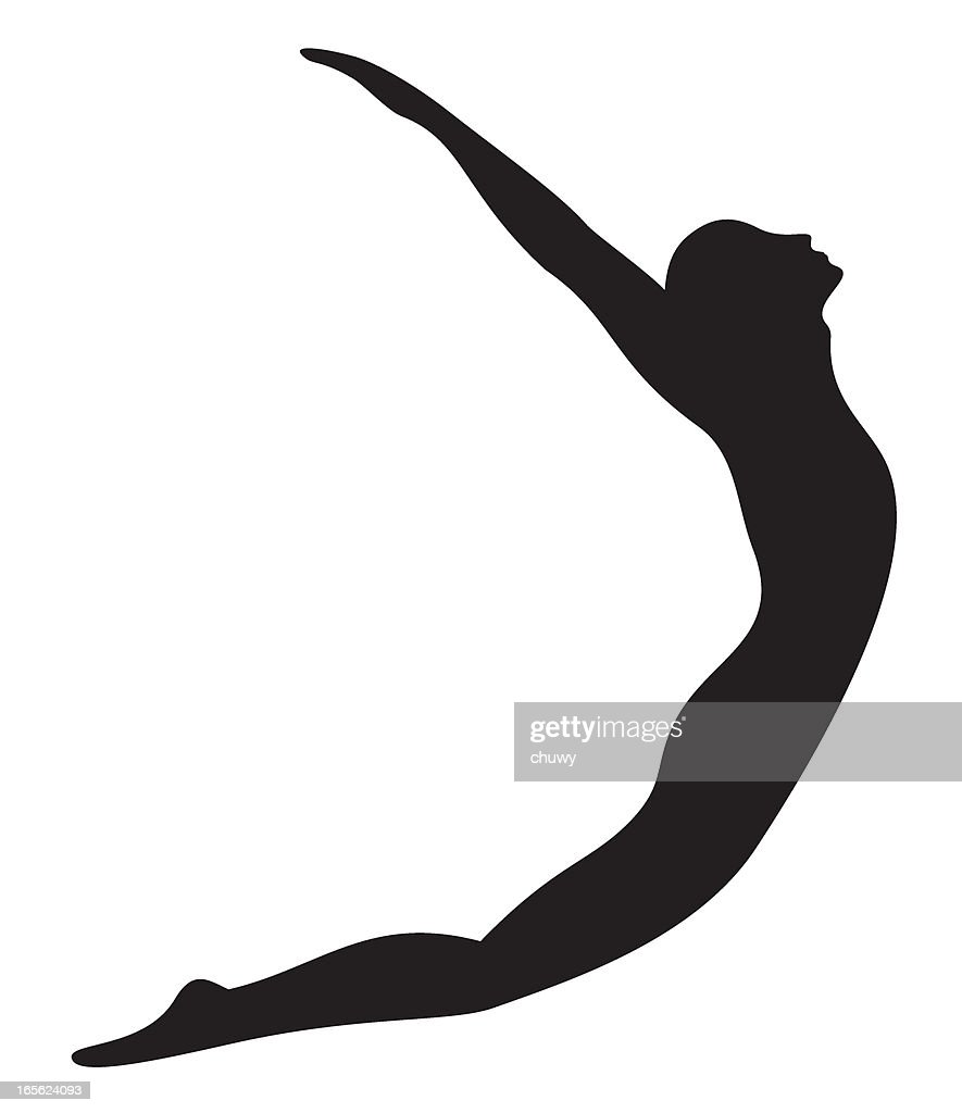Vector silhouette of person jumping on a white background